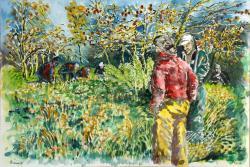 Le ramassage des pommes aquarelle 30x 470 2013 coll privc3a9e